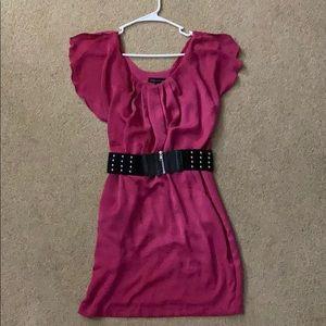 Pink City Triangle Flutter Sleeve Dress